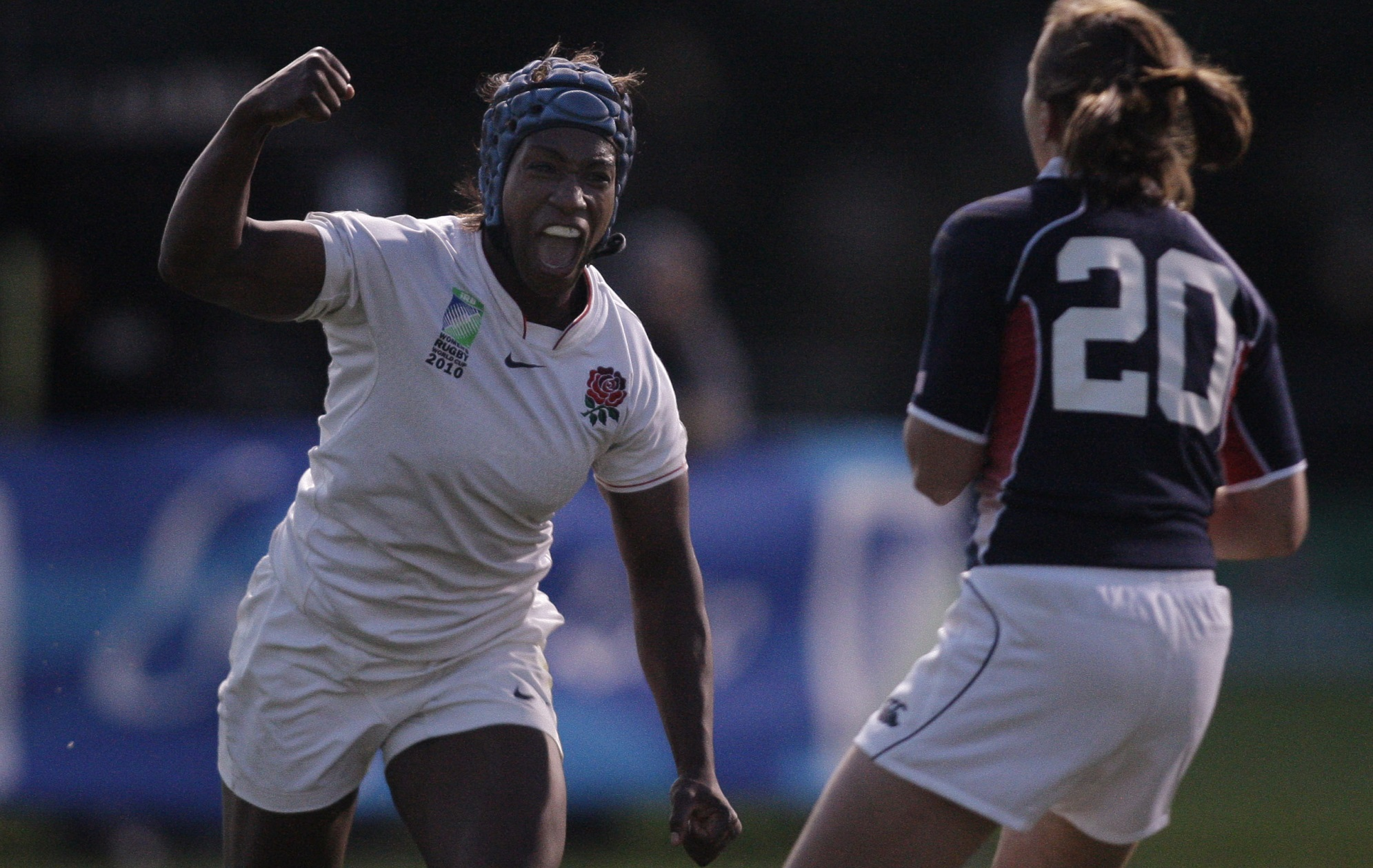 Engalnd rugby union player Maggi Alphonsi punches the air in delight