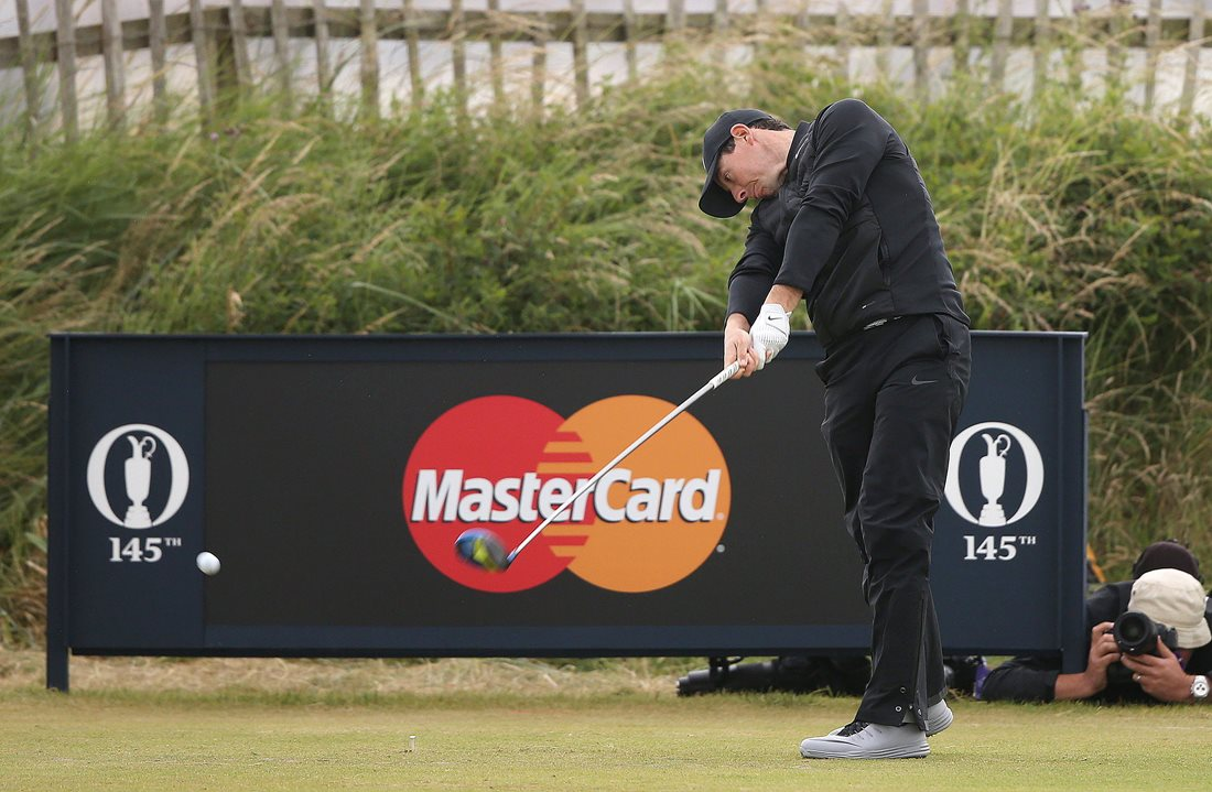 Rory McIlroy hits his tee shot on the second hole during the third round at Royal Troon