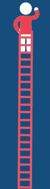 Red person climbing ladder
