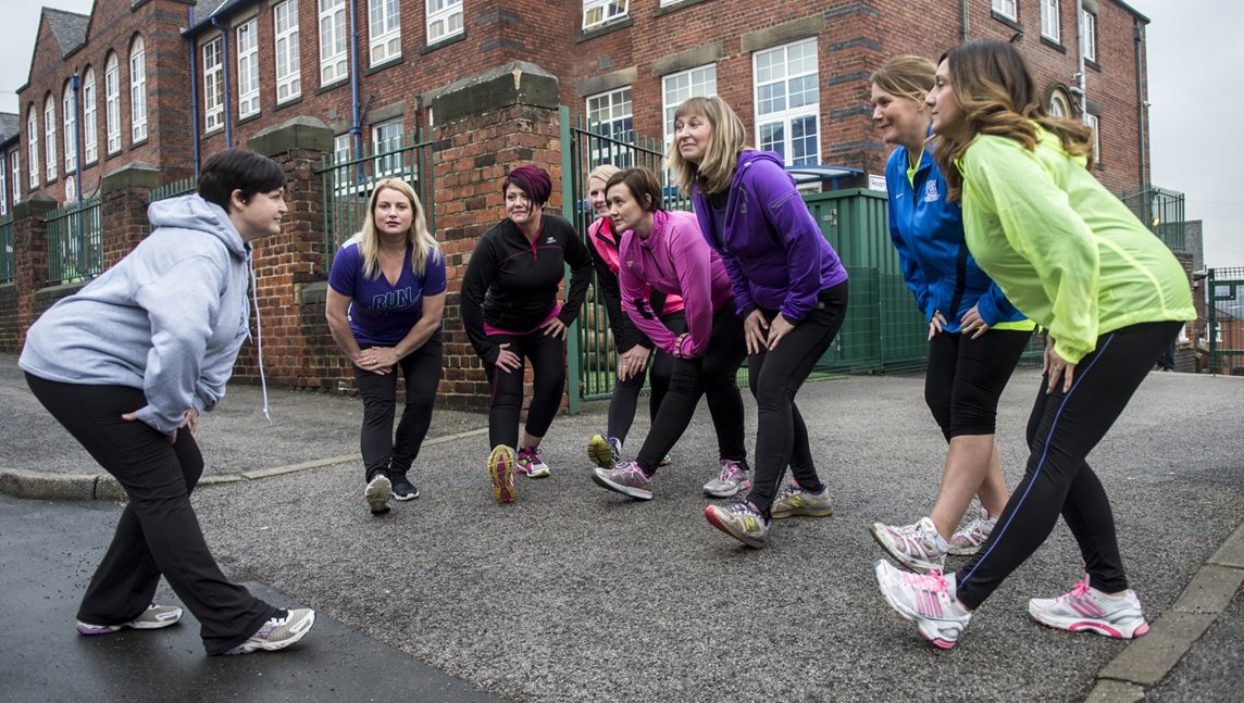 A women's only running club warms up