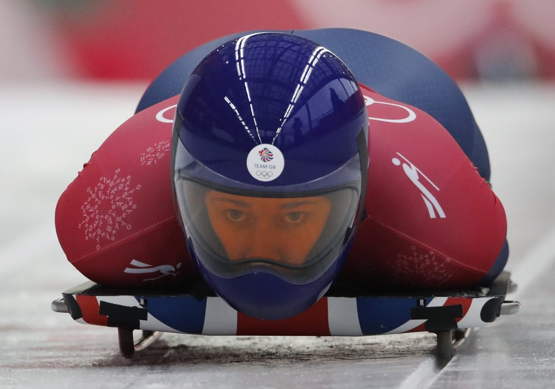 Lizzy Yarnold on her way to Skeleton gold at the 2018 Winter Olympics in Pyeongchang