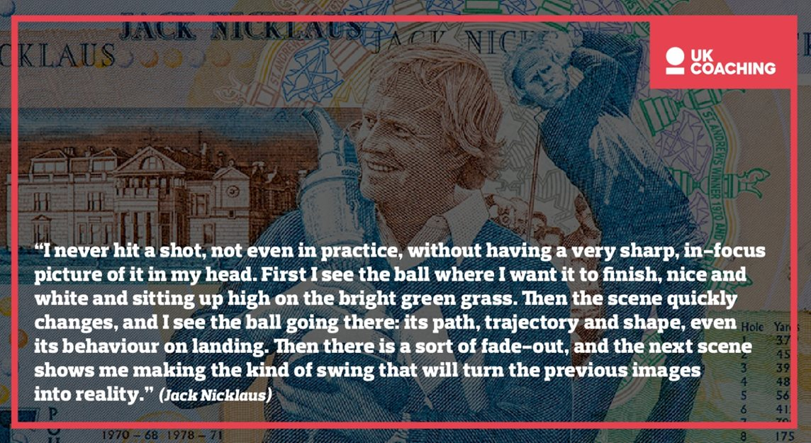 Block with a Jack Nicklaus quote and images of Jack in the background