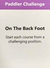 One of the British Canoeing Challenge cards, a Paddler Challenge titled 'On the Back Foot'