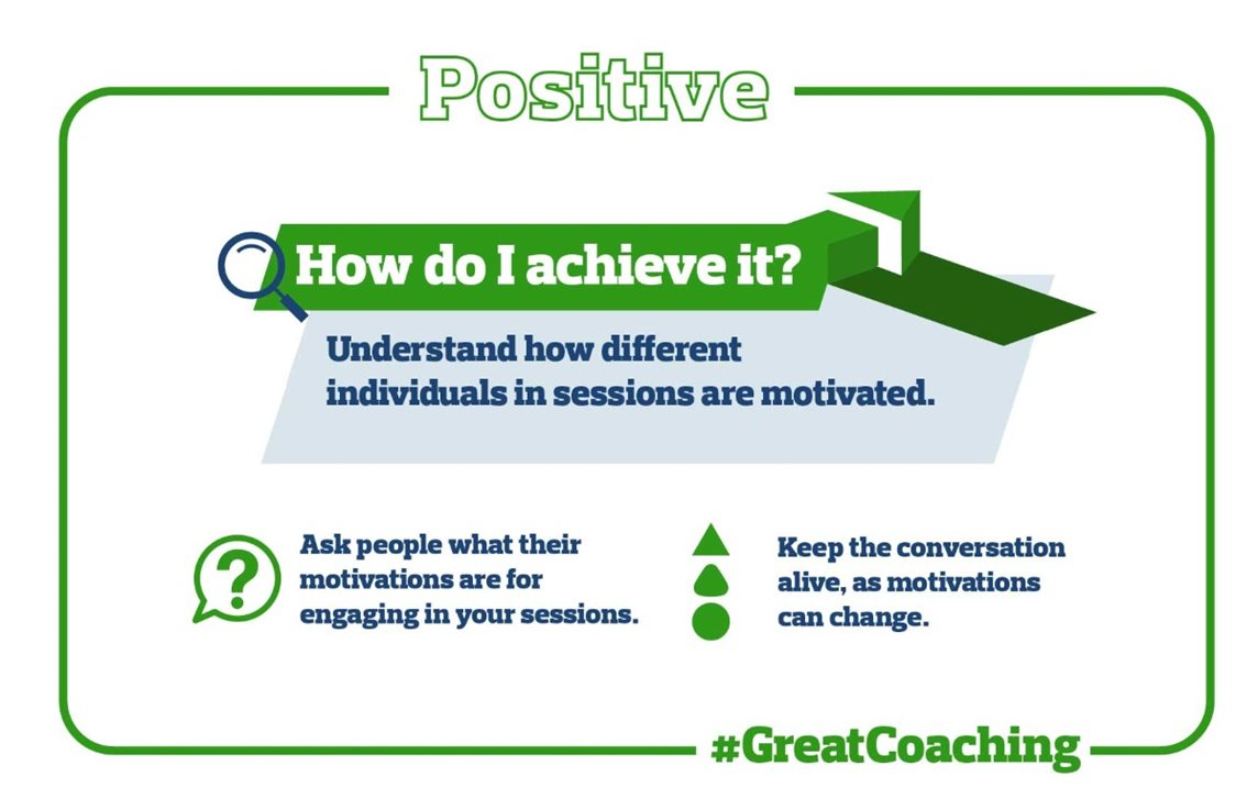 Graphic depicting ideas for positive coaching, starting with understanding how different individuals in sessions are motivated