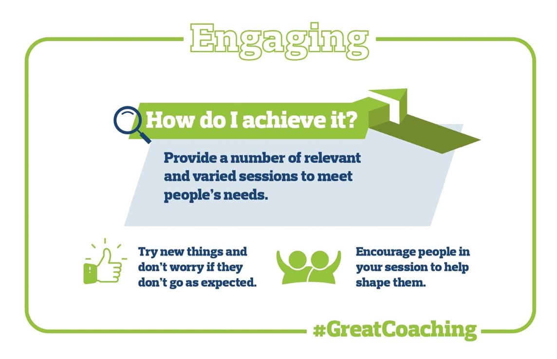 Graphic depicting how to create engaging coaching, such as by providing a number of relevant and varied sessions