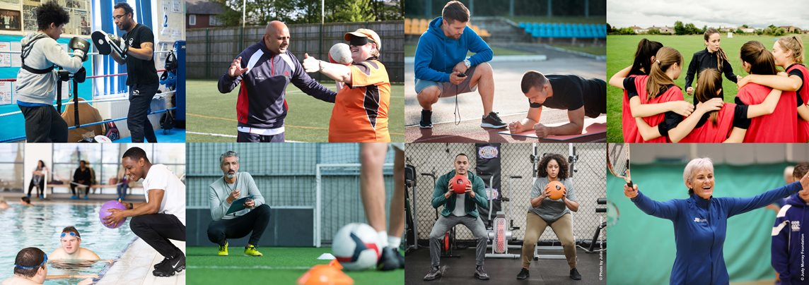 Collage of coaches from different sports and backgrounds coaching in different environments such as on the field, in the gym and on the track